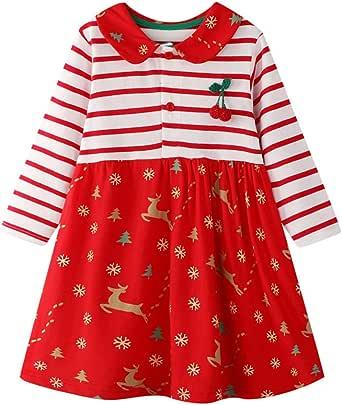 HILEELANG Little Girls Cotton Dress Casual Summer Sundress Flower Printed Jumper Skirt
