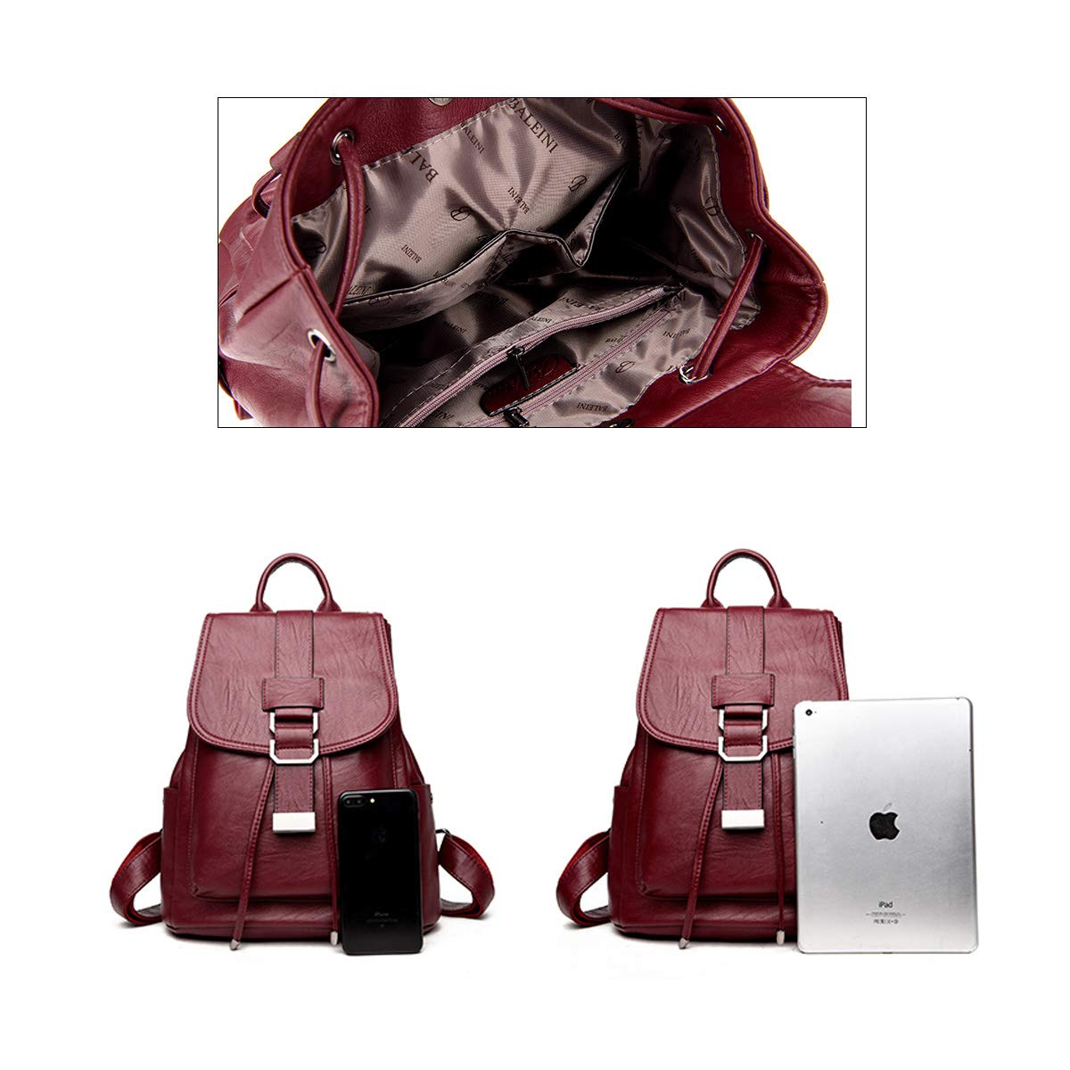 PU Leather Simple and Stylish 2019 New Hengtongtongxun Girls Multifunctional Backpack for Daily Travel//Outdoor//Travel//School//Work//Fashion//Leisure Black//Blue//Red//Purple//Bronze