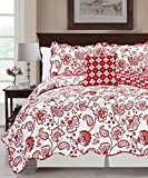 Serenta Printed Paisley Flower 4 Piece Reversible Quilted Coverlet Set, Queen, Red