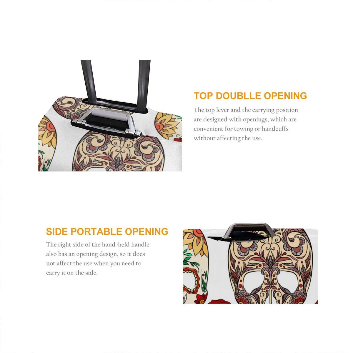 JHNDKJS Texture with of Sugar Skulls Travel Luggage Cover Baggage Suitcase Protector Fit for 12-18 Inch Luggage