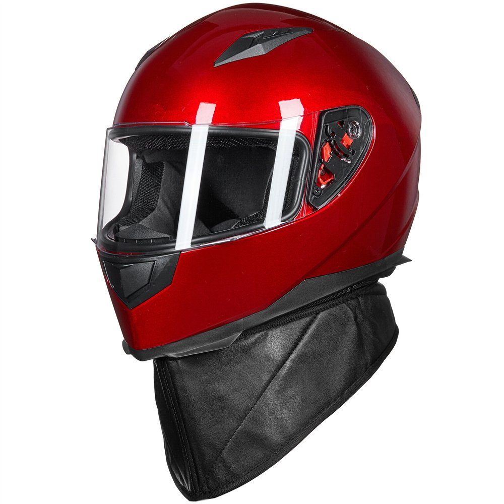 ILM Full Face Motorcycle Street Bike Helmet with Removable Winter Neck Scarf + 2 Visors DOT (L, Red) by ILM (Image #5)