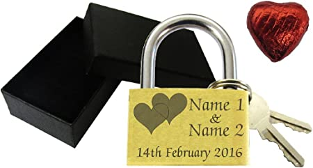 Love Heart Anniversary Valentines Present Wedding Favour 40mm Love Lock Personalised Engraved Padlock