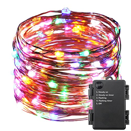 ER CHEN Indoor and Outdoor Waterproof Battery Operated 100 LED String Lights on 33 Ft Long Ultra Thin Copper String Wire with Timer (Multicolor) (Wreaths Light Outdoors Up)