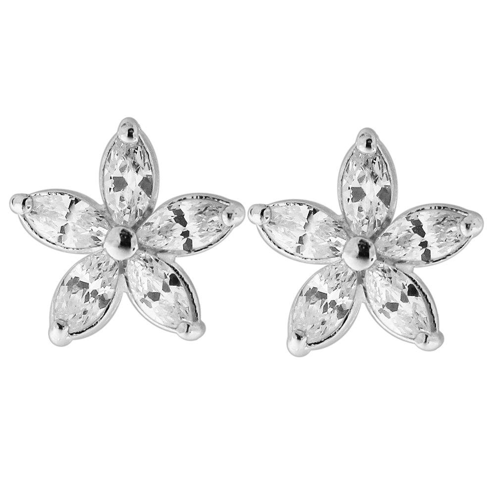 CZ Stone Daisy Flower 925 Sterling Silver Stud Earring