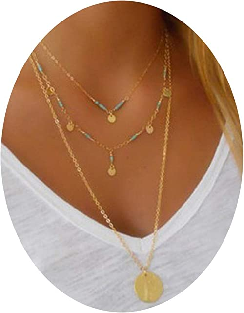 Epinki Gold Plated 2 Layer Necklace Gold Sequin Bead Chain Chain Necklace for Women and Girls