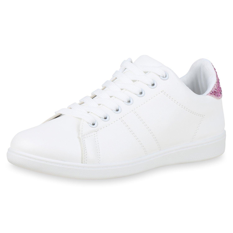 SCARPE VITA Damen Sneaker Pink Low Strass Glitzer Weißs Pink Sneaker Glitzer 6ea69f