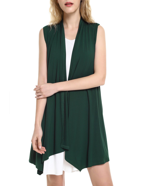 ZAN.STYLE Women's Lightweight Sleeveless Draped Open Front Cardigan Vest Deep Green X-Large