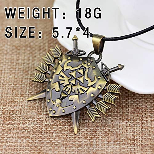 Necklace for Men Hot Game The Legend of Zelda Fans Dark Links Hylian Shield Necklace Metal Jewelry Gift Chaveiro Necklace Cosplay For Men Boy