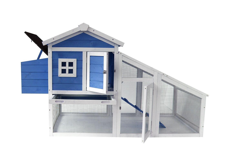 Lovupet 70'' Deluxe Wooden Coop Backyard Nest Box Pet Cage Rabbit Hen Hutch Blue 0326