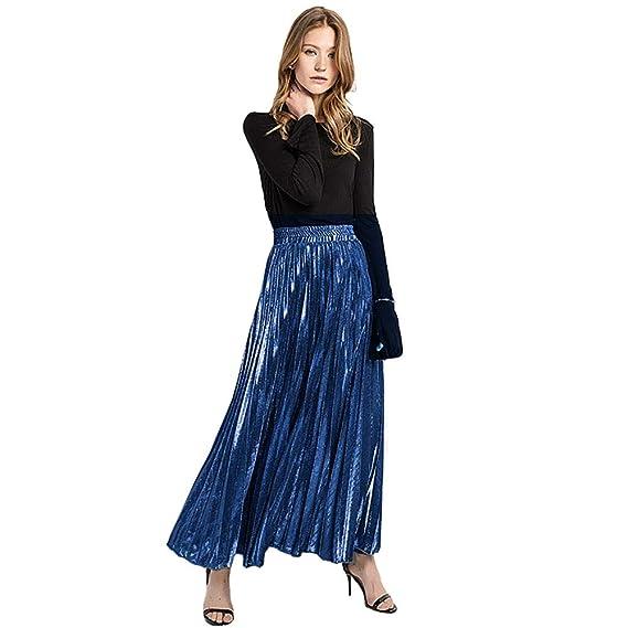 LA Haute Falda Plisada metálica para Mujer, Falda de Playa Larga ...