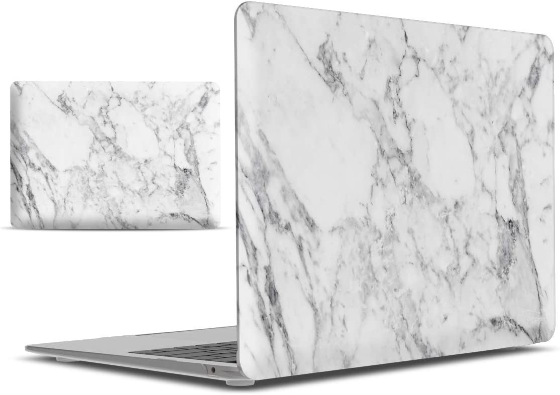 IBENZER MacBook Air 13 Inch Case 2020 2019 2018 New Version A1932, Hard Shell Case Cover for Apple Mac Air 13 Retina with Touch ID, White Marble, MAD-T13WHMB