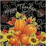 Creative Converting 3-Ply Pumpkin Tapestry Dinner Napkins, Black/Orange