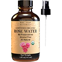 Mary Tylor Naturals Organic Rose Water (4 Oz) Usda Certified, Natural Toner Spray For Face & Hair, Alcohol-Free Hydrating Spray Mist, 100% Natural Anti-Aging Petal Rosewater By