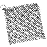 Cast Iron Cleaner Premium Stainless Steel Chainmail Scrubber- XL 7x7-Inchs