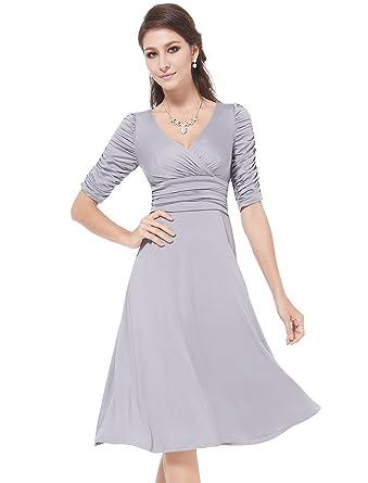 Ever Pretty Damen V-Ausschnitt 3/4 Arm Knielang Cocktail Kleid 03632 ...
