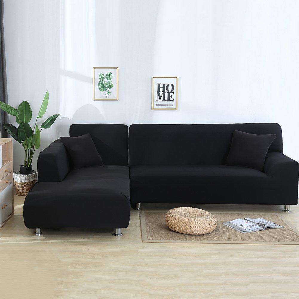 set da 2 2 federe copridivano elasticizzato per divano a forma di L ele ELEOPTION Grau