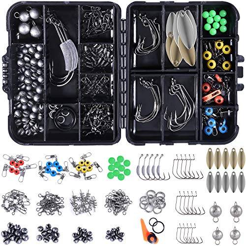 PLUSINNO 156pcs Fishing Accessories Kit, Including Jig Hooks, Bullet Bass Casting Sinker Weights, Different Fishing Swivels Snaps, Sinker Slides, Fishing Line Beads, Fishing Set with Tackle Box