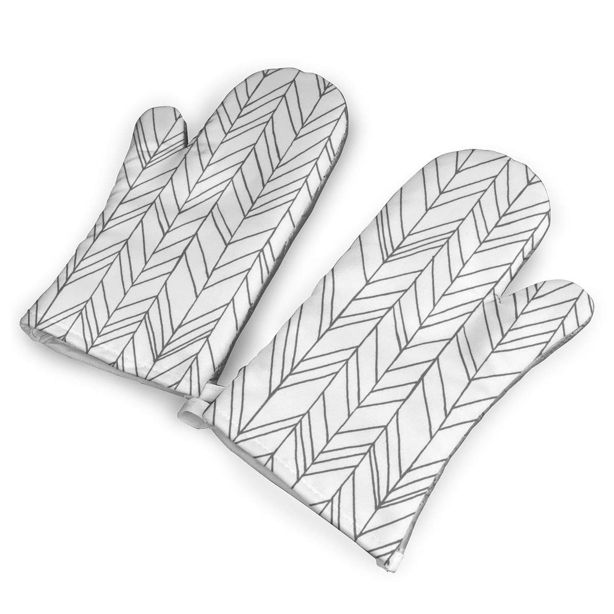 Victoria-Ai Chevron White Gray Oven Mitts Premium Heat Resistant Kitchen Gloves Non-Slip Easy to Use Baking Mittens for BBQ/Cooking/Grilling