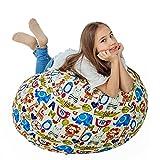 "Stuffed Animal Storage Bean Bag XXL – 100% Cotton Canvas Plush Toy Organizing Bag, Machine Washable, Comfortable & Soft Seat for Nursery | Stylish Chair/Ottoman/Pouf for Boys & Girls (38"",Animal Zoo"