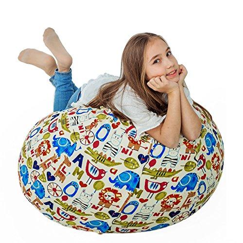 "Stuffed Animal Storage Bean Bag XXL – 100% Cotton Canvas Plush Toy Organizing Bag, Machine Washable, Comfortable & Soft Seat Nursery   Stylish Chair/Ottoman/Pouf Boys & Girls (38"",Animal (Canvas Ottoman)"
