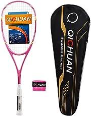 QICHUAN Squash Schläger Racket Set 100% Graphit Carbon 125g mit Tasche & Griffband Erwachsene