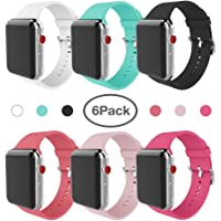6-Pack Miterv Apple Watch Band 38mm 40mm Soft Silicone Replacement Band