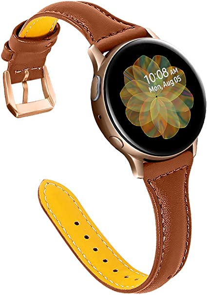 Joyozy Leather Band Compatible with Samsung Galaxy Watch Active(40mm)/2(40mm), (44mm), Woman Man 20mm Slim Leather Wristband Strap for Galaxy Watch ...