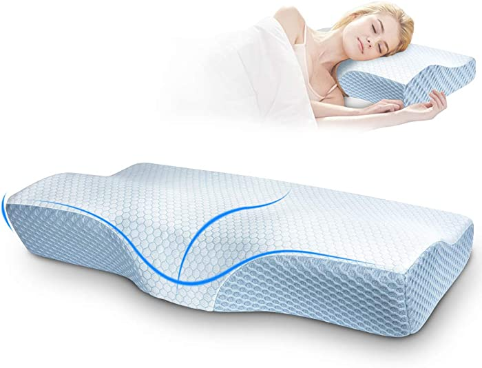 Villsure Contour Memory Foam Pillow for Sleeping,Ergonomic Cervical Pillows for Neck Pain,Orthopedic Sleeping Pillows for Side Sleeper,Back,Stomach Sleepers,Cooling Bed Pillow with Free Pillowcases