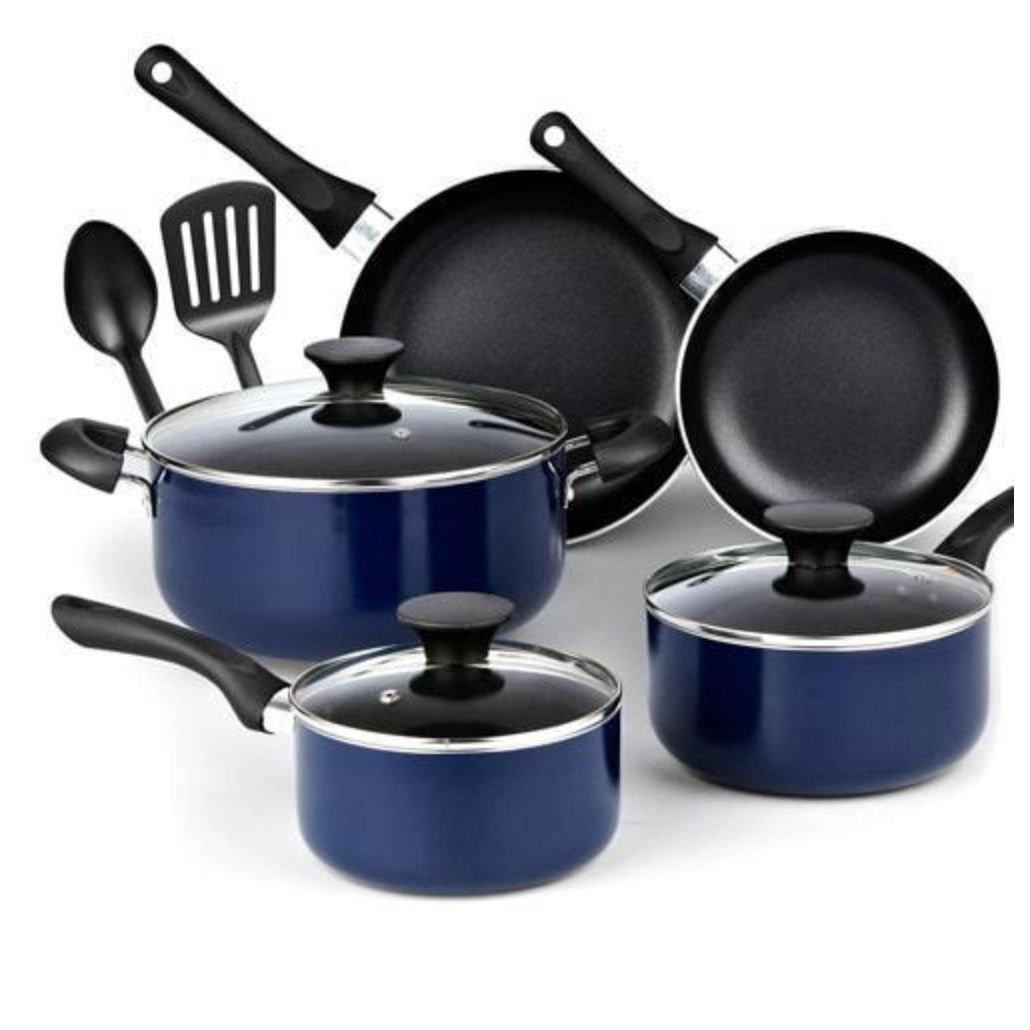 Cook N Home 10ピースノンスティックブラックソフトハンドル調理器具セット、ブルー B07B77C7Z7
