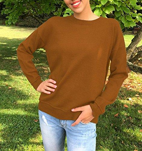 Col Hauts Rond Automne Blouse T Casual Simple Longues Fashion en Fashion Shirt Manches Bandage Shirt Marron Pullover Top Sweat Femme qzFWaU