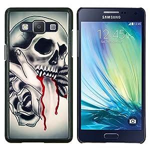 LECELL--Funda protectora / Cubierta / Piel For Samsung Galaxy A5 A5000 -- Plumas Cráneo Vampire Rose Sangre --
