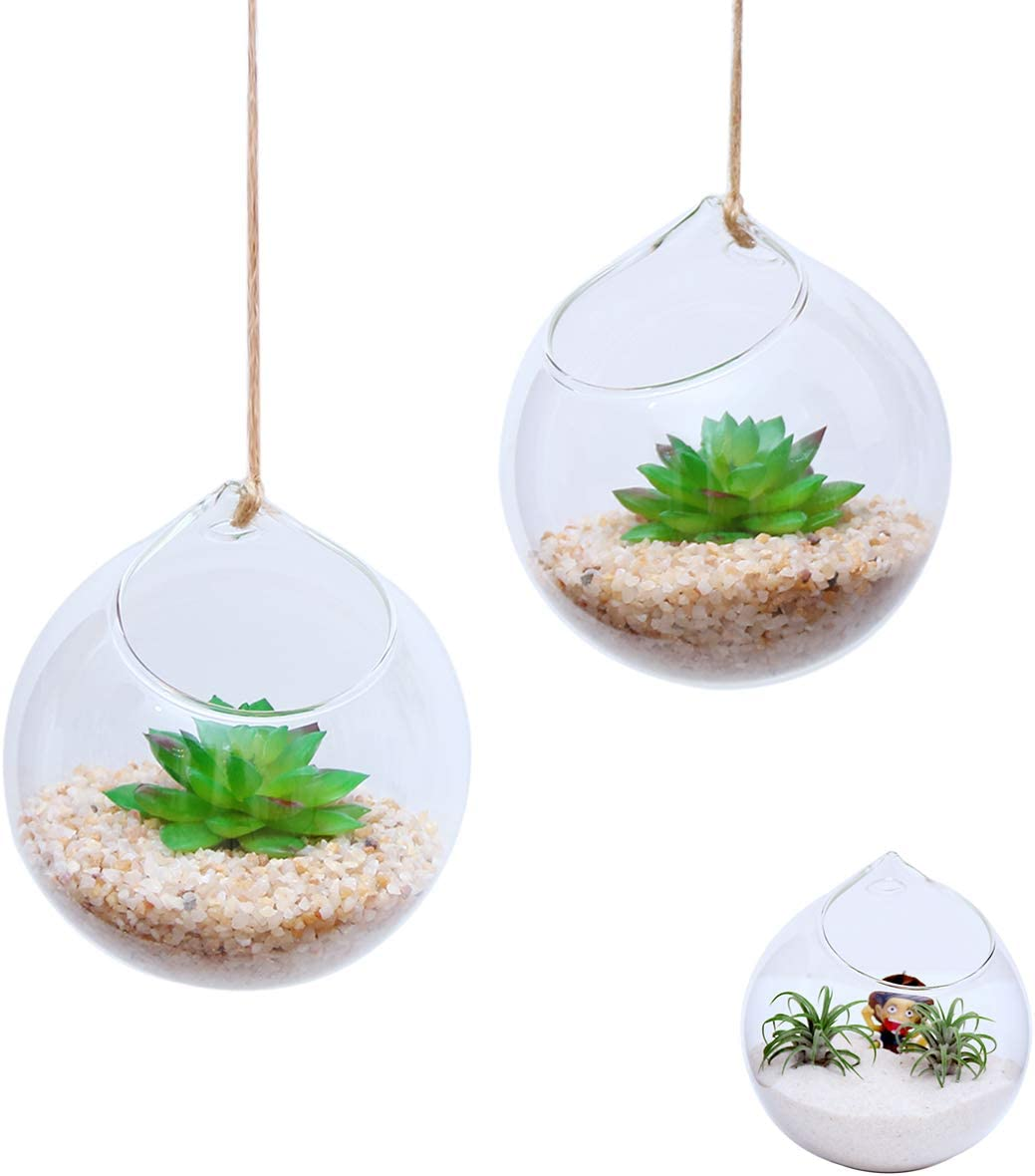 Ivolador Set of 2PCS 4.7 Inches Hanging Planter Glass Terrarium Container Air Plant Holder Succulents Globe Shape Home Garden Decor