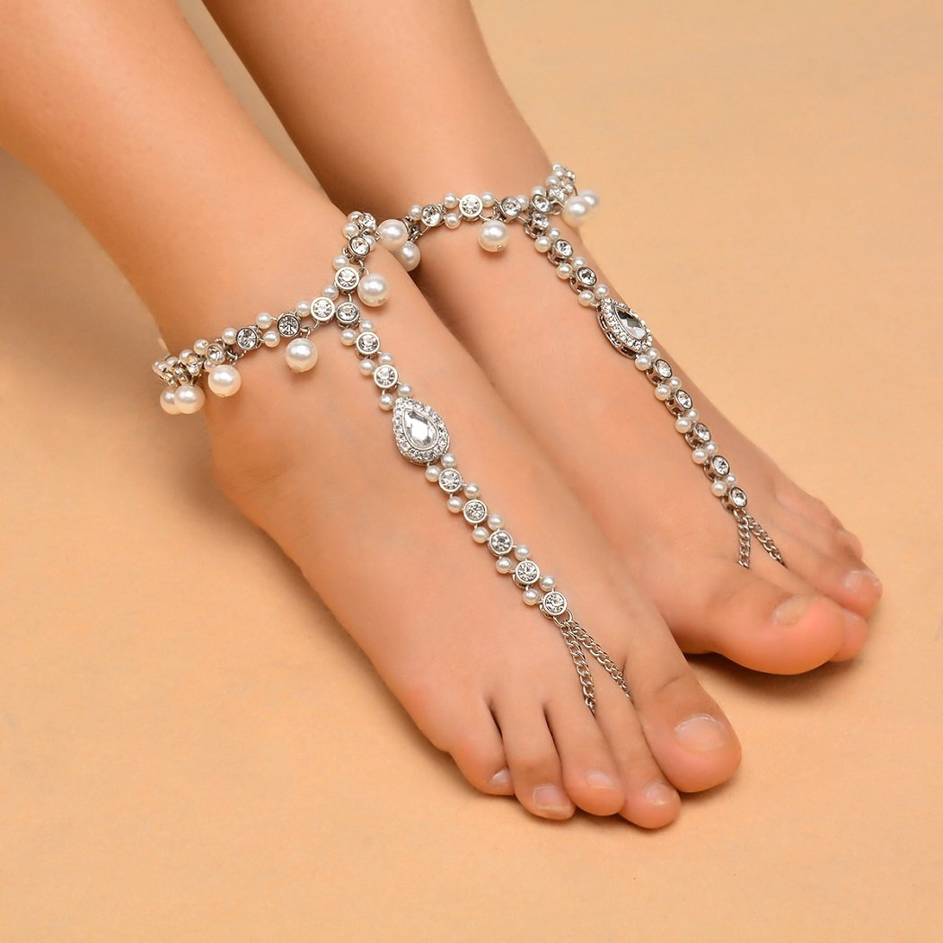 SUNSCSC Beach Wedding Foot Jewelry Bead Crystal Anklet Wedding Bridal Accessorie Bridesmaids Gift 2PCS (Silver) by SUNSCSC (Image #5)