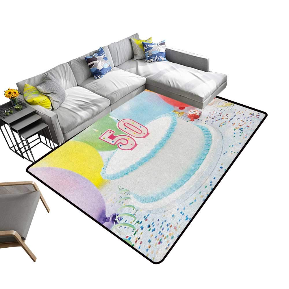50th Birthday Indoor Floor mat White Sweet Tasty Cake on The Table with Colorful Balloons Confetti Party 78''x118'',Can be Used for Floor Decoration