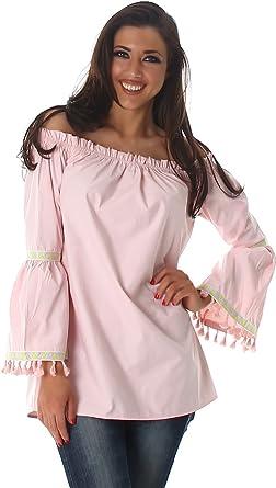 Voyelles Camiseta de Mujer Blusa Top Túnica Carmen Cuello Retro Hippie de Manga Larga Camisa de Kimono Rosé 42/44 (Label M): Amazon.es: Ropa y accesorios