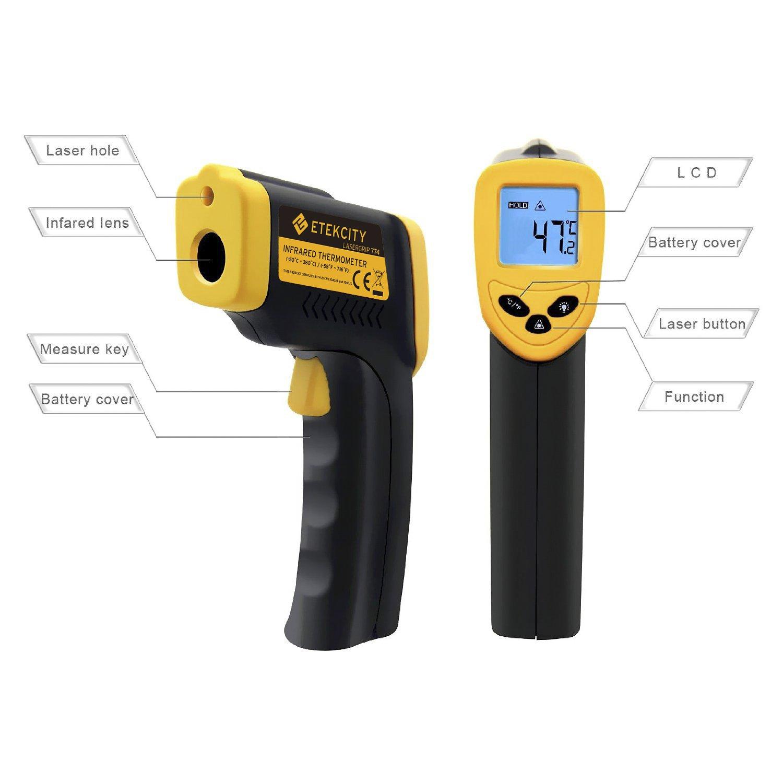 Termómetro Infrarrojo Digital Láser IR Sin Contacto Temperatura -50 ℃ a 380 ℃ por solo 15,99€