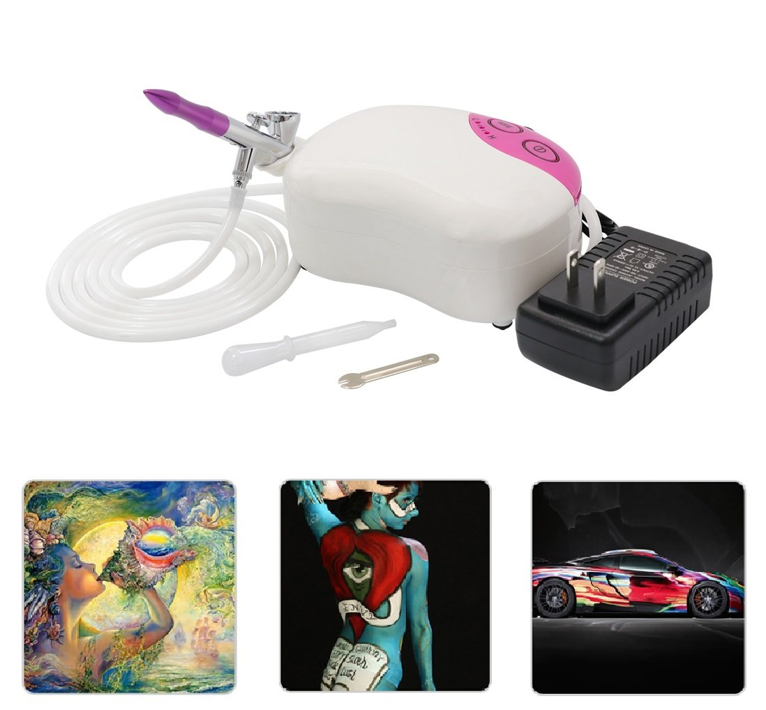 Best Sunshine Portable Mini Airbrush Air Compressor Kit, Multi-Purpose Dual-Action Airbrush Set, Air Brush Spray Gun for Tattoo, Cake Decorating, Nail Beauty, Makeup, Painting (Pink)