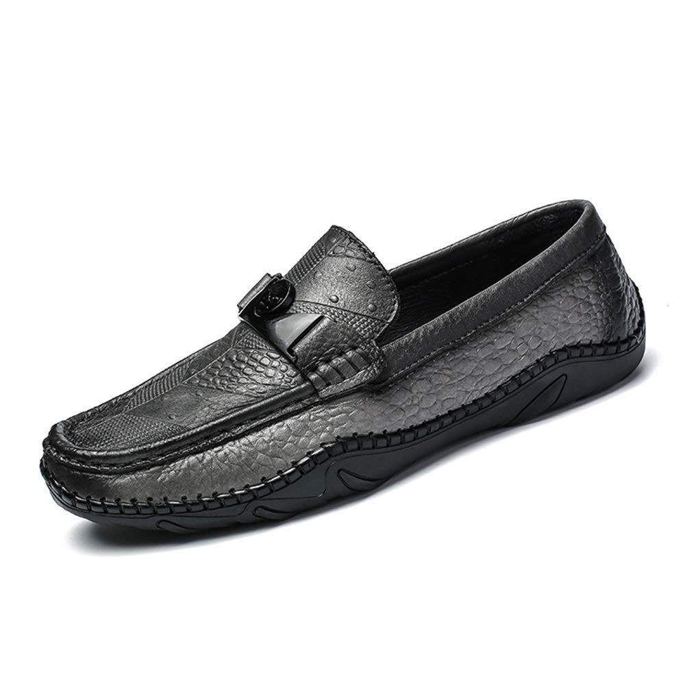 Qiusa Herren Schnalle Loafers Echtes Leder Krokodil Muster Weiche Sohle Weiß, Fahren Schuhe (Farbe : Weiß, Sohle Größe : EU 39) Grau de1227