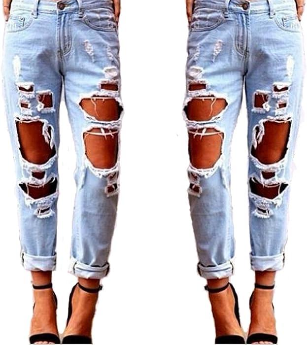 1f1fb9cdff TieNew Mujer Jeans Skinny Pantalones Rotos Flacos Vaqueros Azul  Cintura