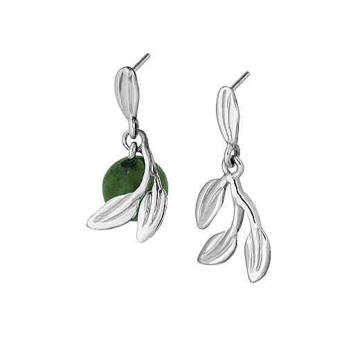 d7735699062e Martha Vargas  Aretes de plata ley .925 colección olivos ramo de hojas con  cuenta