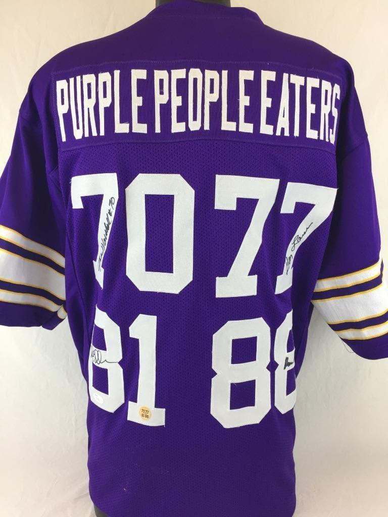 Autographed Signed Minnesota Vikings Jersey JSA Page, Eller, Marshall, Larson Purple People Eaters