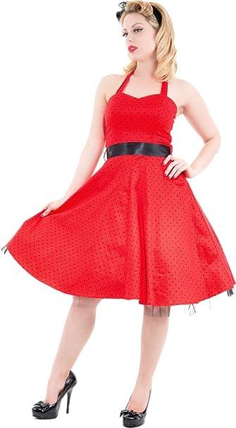 Hearts /& Roses POLKA DOTS Petticoat NECKHOLDER Kleid Rot Rockabilly