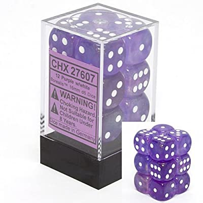 Chessex Dice d6 Sets: Borealis Purple with White - 16mm Six Sided Die (12) Block of Dice: Toys & Games
