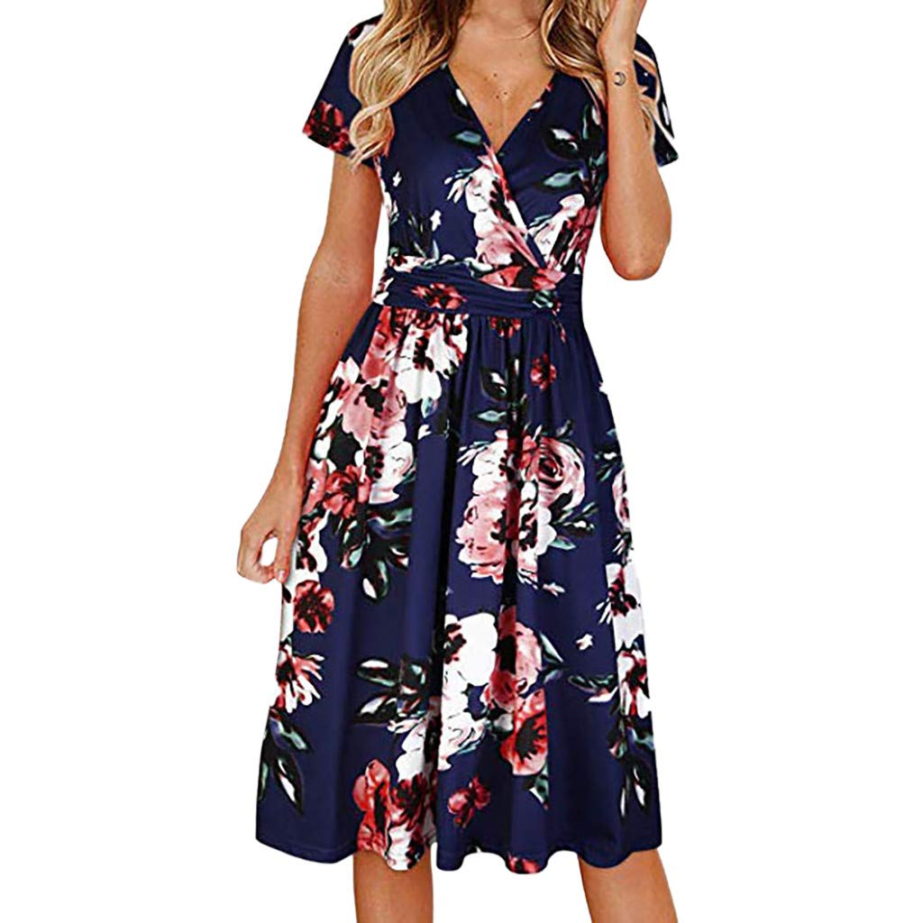 Amhomely Women's Dress Sale Ladies Fashion Short Sleeve Floral Print V-Neck Mini Dress Summer Dress Party Elegant Dresses Casual Plus Size Dresses Dressing Gown for Wedding Guest Casual Dress UK Size
