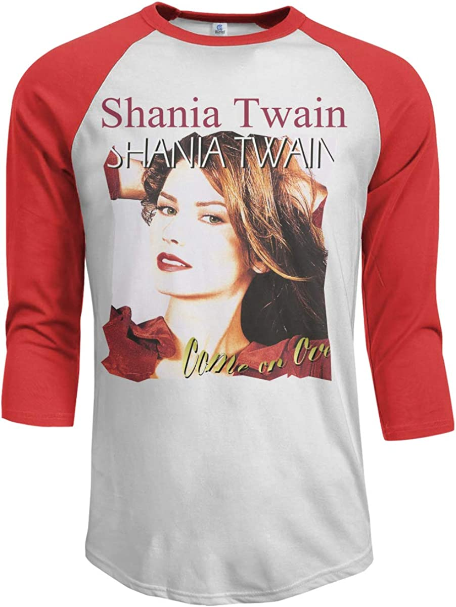 Wudici Mens Shania Twain Come On Over Casual 3//4 Sleeve Baseball Tshirt Raglan Jersey Shirt
