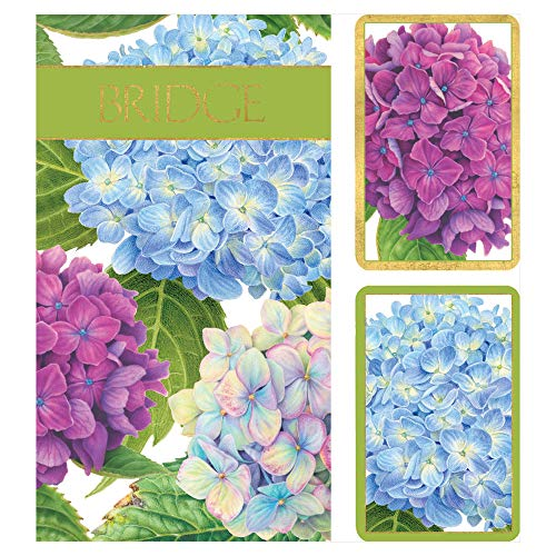 (Caspari Hydrangea Garden Large Type Bridge Gift Set, 2 Playing Card Decks & 2 Score Pads)