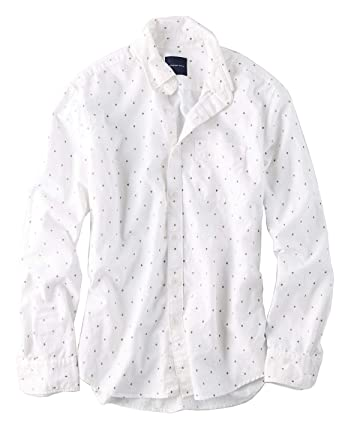 008d1da6e6cf American Eagle Mens Printed Oxford Button-Down Shirt White Print (Medium)