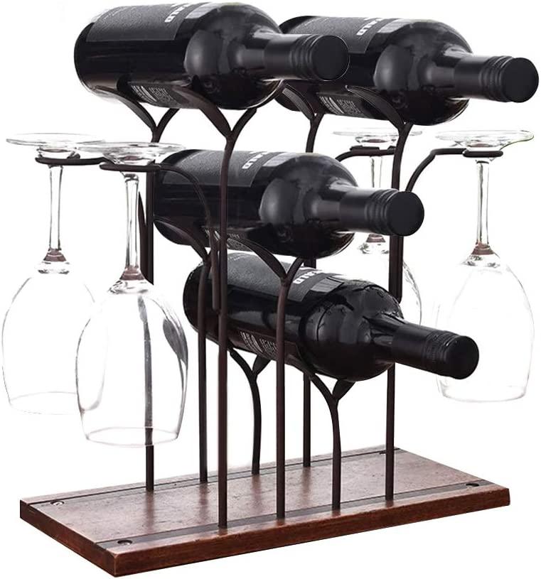 Innotic Wine Rack 8 Bottle – 4 Bottle and 4 Wine Glass Placement Free Standing Wooden and Stainless Steel WAS £19.99 (£17.99 PRIME) NOW £9.99 (£8.99 PRIME) w/code ZFFSA4PS @ Amazon