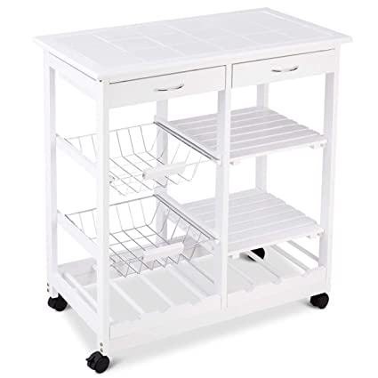 GraceShop 44lbs Trolley Cart Island Shelf W Storage Drawers Baskets Rolling Wood Kitchen