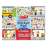 Melissa & Doug Reusable Sticker Pad - My Town, Extra Large Sticker Activity Pad, Removable Backgrounds, 200 Cling-Style Stickers, 14.05\